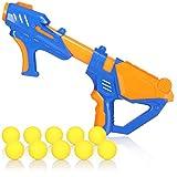 com-four® Ballpistole - Schaumstoffball-Blaster - Spielzeugblaster mit weichen Softbällen - Spielzeug-Pistole mit Druckluft-Pump-Mechanismus (01 Stück - blau/orange)