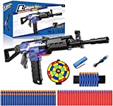 Elektrische Spielzeug Pistole mit 12 Clip Magazin, Automatische Blaster für Nerf Pfeilen mit 100 Munition, 3 Modi Schuss, USB Aufladbares Spielzeugewehr, Kinder Outdoor Spiel Geschenk Junge Erwachsene