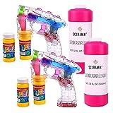 Schramm® 2 Stück Led Seifenblasenpistolen mit 2 Liter Seifenblasenlösung Seifenblasen Flüssigkeit Ohne Batterien Pistole Set