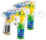 infactory Seifenblasen Pistolen: 2er-Set Seifenblasenpistolen mit LEDs je inkl. 2X Seifenblasenlösung (Seifenblasen-Pistole Kinder)