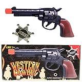 wuselwelt 542909, Action-Set Western Cowboy 2-teilig, Cowboy-Set, Kinderpistole mit Sheriff-Stern oder Police-Abzeichen, Indianer, Fasching, Kostüm, Karneval, Geburtstag